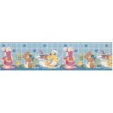 Clearance: Light Blue Kids Bathroon Bears Wallpaper Border