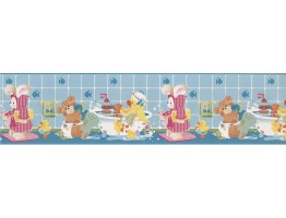 Prepasted Wallpaper Borders - Light Blue Kids Bathroon Bears Wall Paper Border