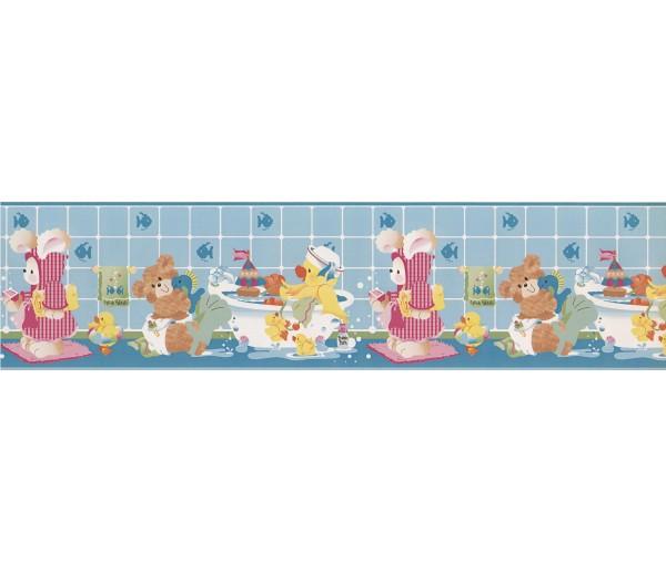 Clearance: Light Blue Kids Bathroon Bears Wallpaper Border