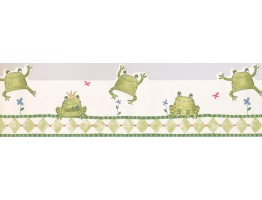 Prepasted Wallpaper Borders - Kids Jumping Frogs Wall Paper Border
