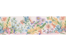 Prepasted Wallpaper Borders - White White Purple Daisies Wall Paper Border