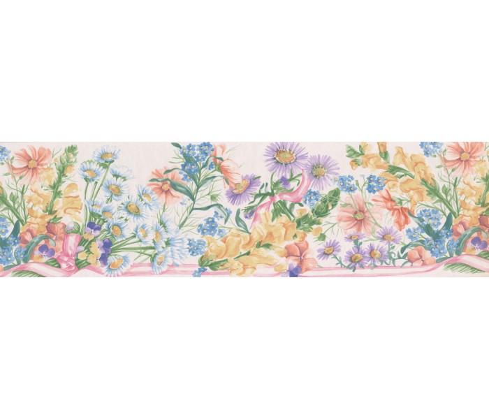 Floral Wallpaper Borders: White White Purple Daisies Wallpaper Border