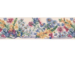 6 1/2 in x 15 ft Prepasted Wallpaper Borders - White Blue Ribbons Floral Wall Paper Border