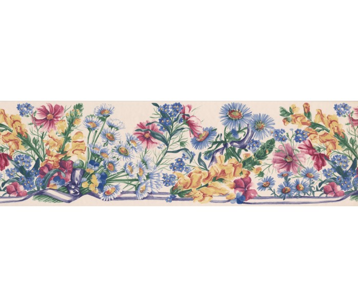 Floral Wallpaper Borders: White Blue Ribbons Floral Wallpaper Border
