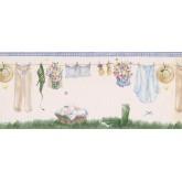 Laundry Borders White Drying Cloths Wallpaper Border York Wallcoverings