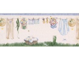 White Drying Cloths Wallpaper Border
