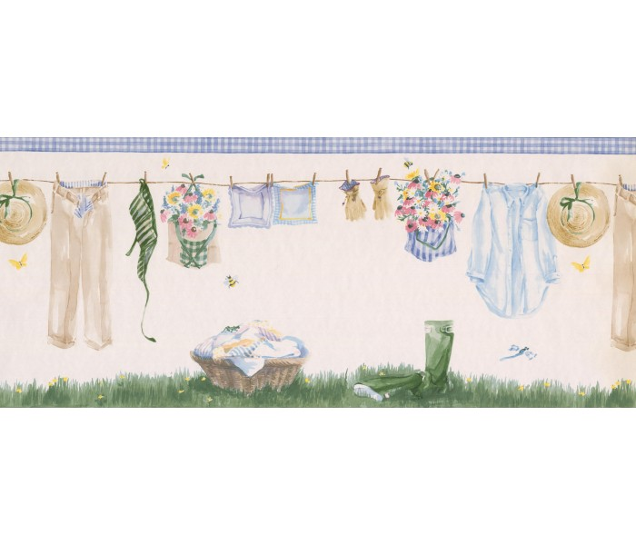 Laundry Wallpaper Borders: White Drying Cloths Wallpaper Border