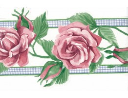 9 in x 15 ft Prepasted Wallpaper Borders - Pink Rose Green Leaf Wall Paper Border