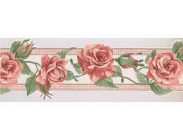 Prepasted Wallpaper Borders - Orange Rose Green Leaf Wall Paper Border