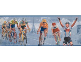 Prepasted Wallpaper Borders - Blue Paris Cycling Wall Paper Border