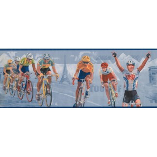 9 in x 15 ft Prepasted Wallpaper Borders - Blue Paris Cycling Wall Paper Border