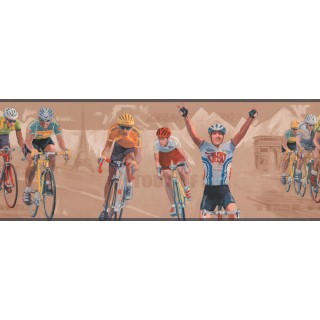 9 in x 15 ft Prepasted Wallpaper Borders - Grey Paris Cycling Wall Paper Border