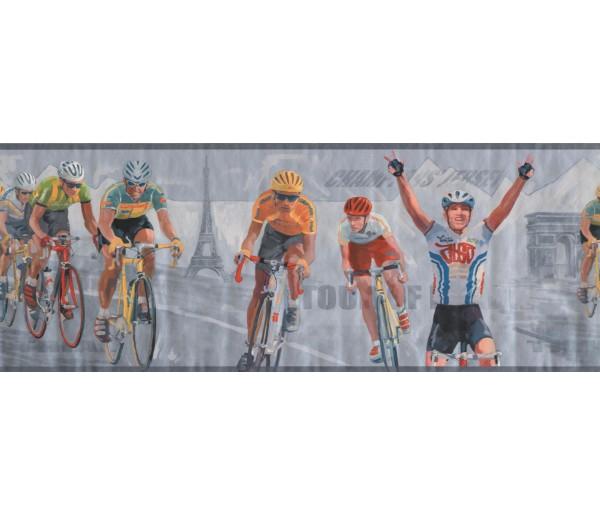 Sports Borders Brown Paris Cycling Wallpaper Border
