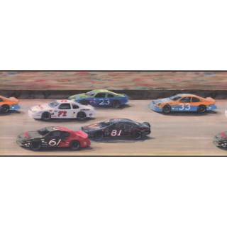 9 in x 15 ft Prepasted Wallpaper Borders - Nascar Car Race Wall Paper Border
