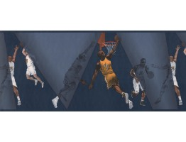 Blue Basket Ball Palyers Wallpaper Border
