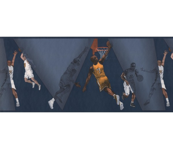 Prepasted Wallpaper Borders - Blue Basket Ball Palyers Wall Paper Border