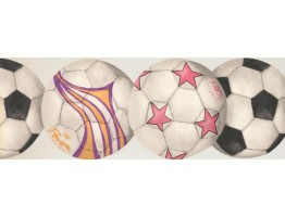 Prepasted Wallpaper Borders - Two White Football Wall Paper Border