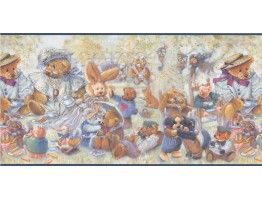 Prepasted Wallpaper Borders - Blue Stuffed Animals Wall Paper Border