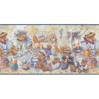 12 in x 15 ft Prepasted Wallpaper Borders - Blue Stuffed Animals Wall Paper Border