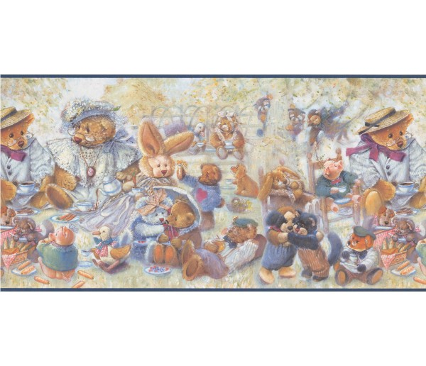 Toys Blue Stuffed Animals Wallpaper Border York Wallcoverings