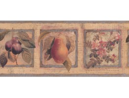 10 in x 15 ft Prepasted Wallpaper Borders - Framed Flowers Fruits on Paper Wall Paper Border
