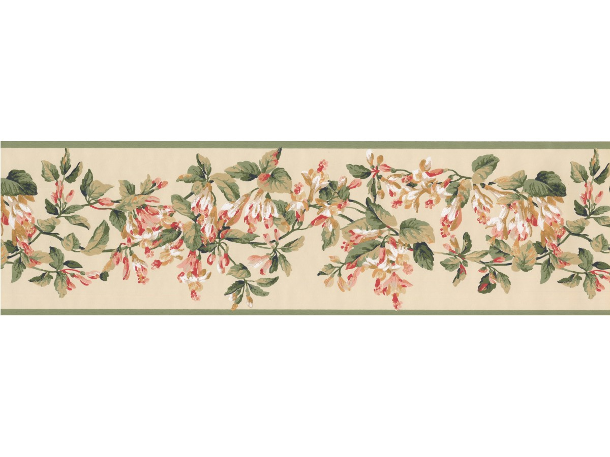 Green Yellow Painted Floral Wallpaper Border