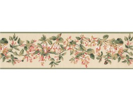 Prepasted Wallpaper Borders - Green Yellow Painted Floral Wall Paper Border