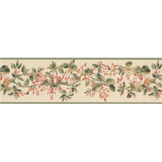 6 1/2 in x 15 ft Prepasted Wallpaper Borders - Green Yellow Painted Floral Wall Paper Border
