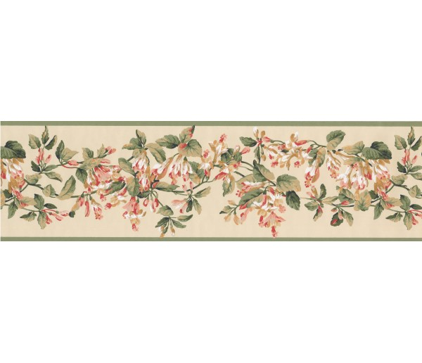 Floral Borders Green Yellow Painted Floral Wallpaper Border York Wallcoverings