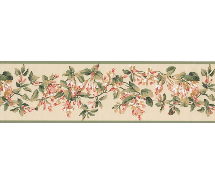 Floral Wallpaper Borders: Green Yellow Painted Floral Wallpaper Border