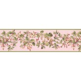 Floral Borders Green Peach Painted Floral Wallpaper Border York Wallcoverings