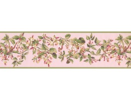 Green Peach Painted Floral Wallpaper Border