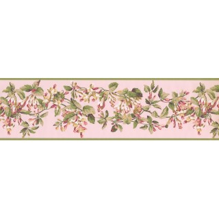 6 1/2 in x 15 ft Prepasted Wallpaper Borders - Green Peach Painted Floral Wall Paper Border