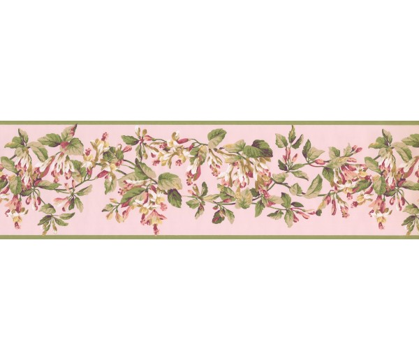 Floral Borders Green Peach Painted Floral Wallpaper Border