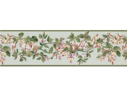 Green Pink Painted Floral Wallpaper Border