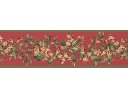 Green Red Painted Floral Wallpaper Border