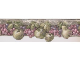 Prepasted Wallpaper Borders - Pink Green Fruits Wall Paper Border