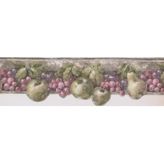 8 in x 15 ft Prepasted Wallpaper Borders - Pink Green Fruits Wall Paper Border