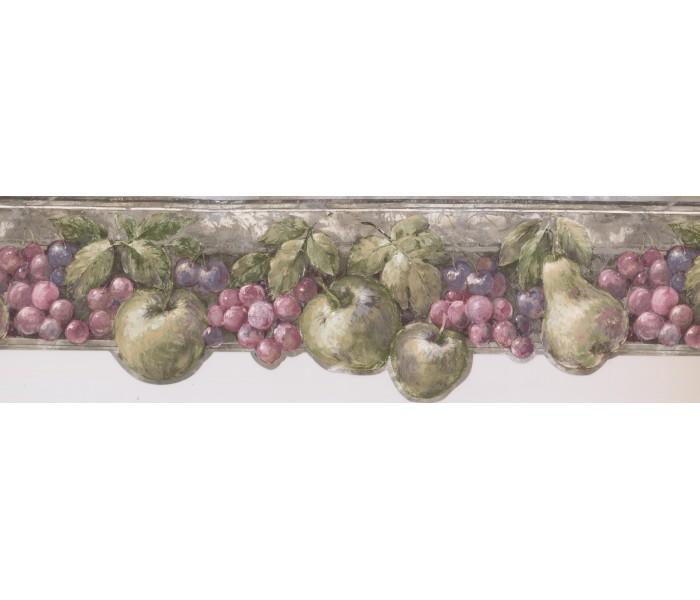 Garden Wallpaper Borders: Pink Green Fruits Wallpaper Border