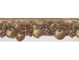 Prepasted Wallpaper Borders - Dark Pink & Green Fruits Kitchen Wall Paper Border