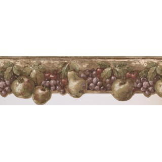 8 in x 15 ft Prepasted Wallpaper Borders - Dark Pink & Green Fruits Kitchen Wall Paper Border