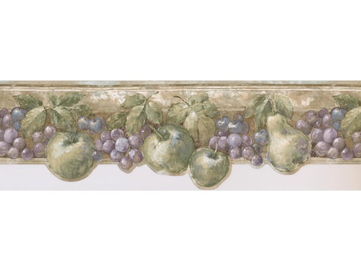 Green Fruits Kitchen Wallpaper Border