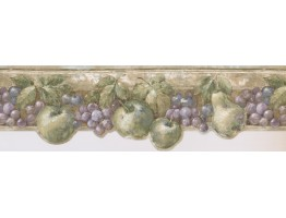 8 in x 15 ft Prepasted Wallpaper Borders - Green Fruits Kitchen Wall Paper Border