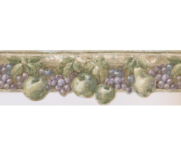 Clearance: Green Fruits Kitchen Wallpaper Border