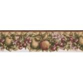Prepasted Wallpaper Borders - Green Apple Berries Wall Paper Border
