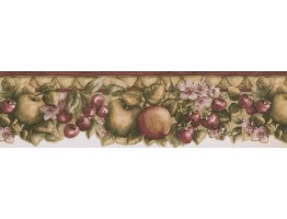 7 in x 15 ft Prepasted Wallpaper Borders - Green Apple Berries Wall Paper Border