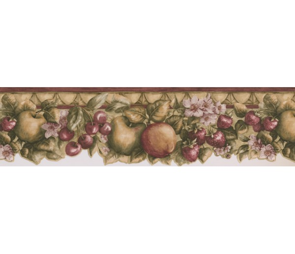Clearance: Green Apple Berries Wallpaper Border