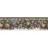 Prepasted Wallpaper Borders - Green Apple Cherris Berries Wall Paper Border