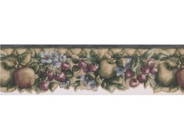 Prepasted Wallpaper Borders - Green Apple Cherris Berries Wall Paper Border