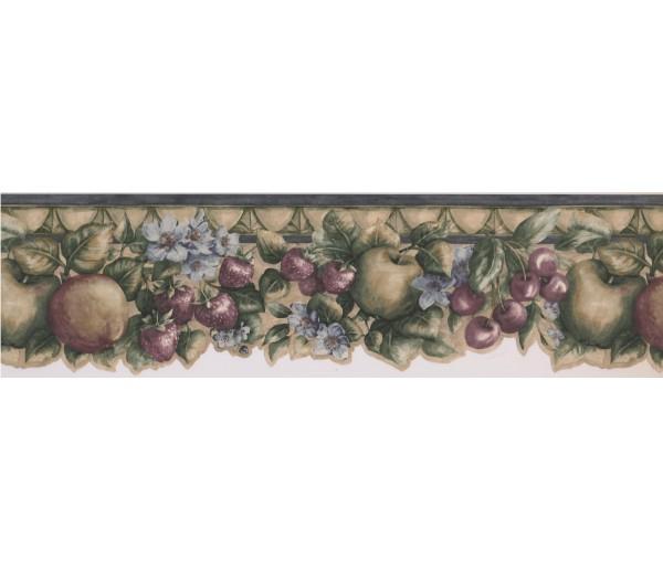 Garden Wallpaper Borders: Green Apple Cherris Berries Wallpaper Border